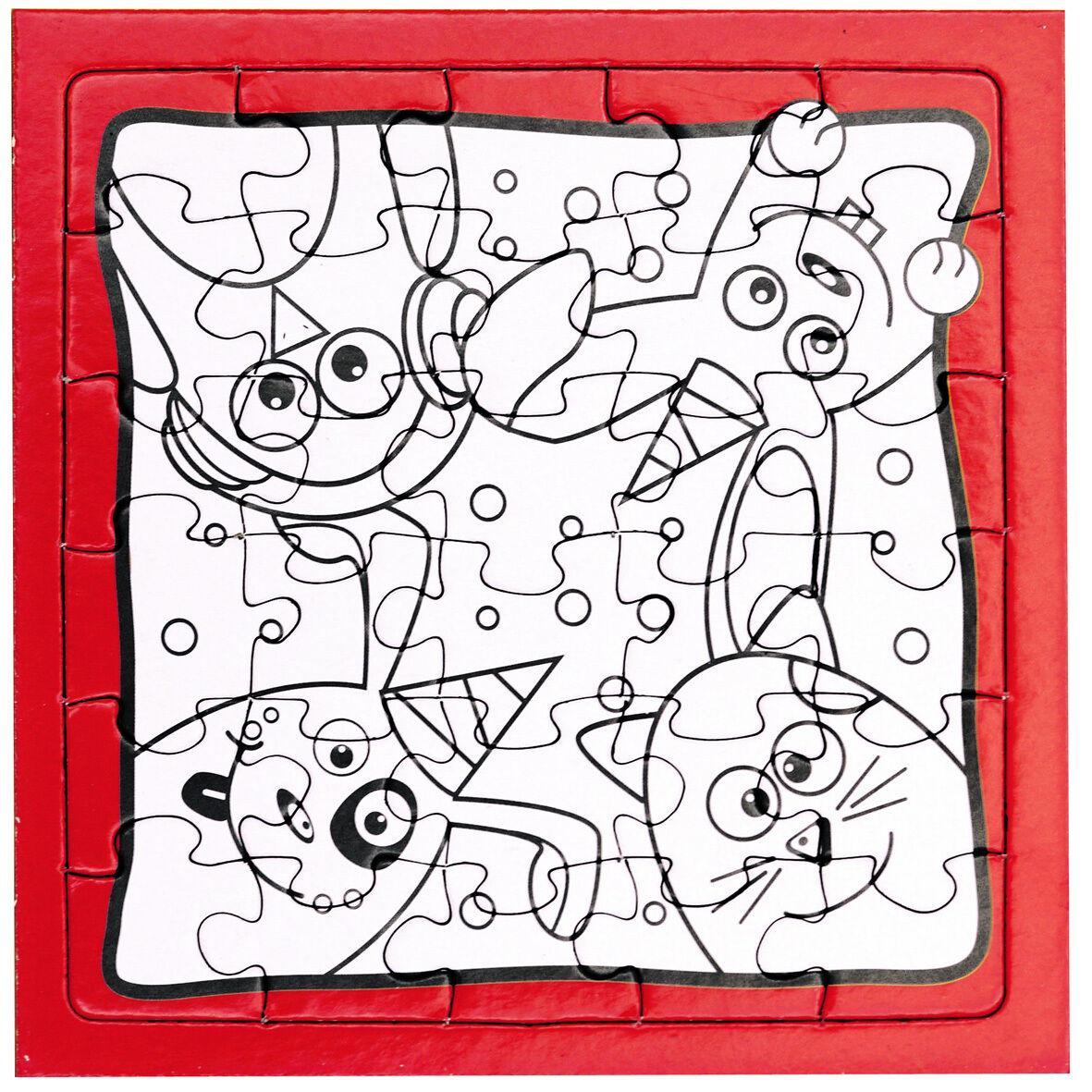 Puzzle zum Ausmalen Kinder Tier Motive Kindergeburtstag Basteln ...