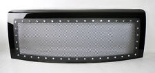 Ford F150 2009-2014 Rivet Black SS Wire Mesh Black Front Hood Grill w/ Shell