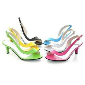 New-Women-Open-Toe-Kitten-Heel-Slingback-Sandals-Transparent-Buckle-Backle-Strap