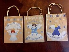 Snowflake Angel Gift Bag set of 3, Natural looking, homey, country, kraft paper