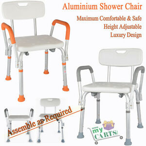 Free-Post-Adjustable-Medical-Shower-Chair-Bathtub-Bench-Bath-Seat-Aid-Stool-Grey