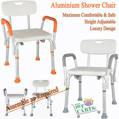 Free Post Adjustable Medical Shower Chair Bathtub  Bath Seat Aid Stool- Orange
