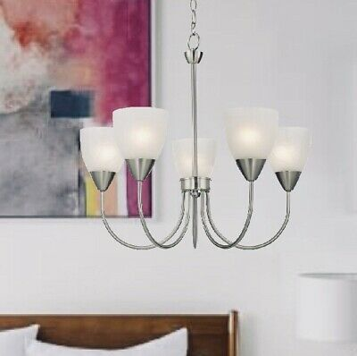 5 Light Brushed Nickel Finish Chandelier Fixture Alabaster Glass Shade Chain New