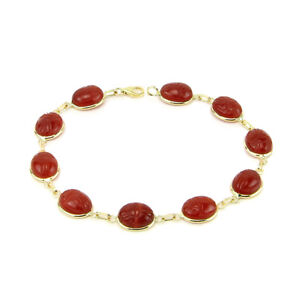 14K-Yellow-Gold-Scarab-Bracelet-With-Carnelian-Gemstones-8-Inches