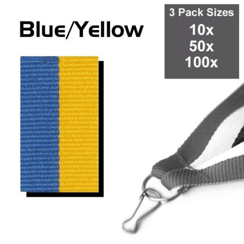 3 PACK SIZE PACK OF 10x BLUE /& YELLOW MEDAL RIBBONS WITH CLIPS WOVEN 22mm WIDE