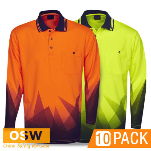 10 X HI VIS WORK SAFETY LONG SLEEVE SUBLIMATED TRADIES ORANGEYELLOW POLO SHIRTS