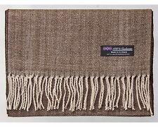 100% Cashmere Scarf Brown Beige Herringbone Check Plaid SCOTLAND Wool Women