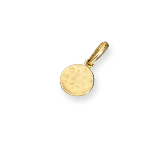 Real 375 9ct Gold Hammered Finish Round Charm Disc Circle Charms