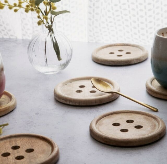 SASS AND BELLE WOODEN BUTTON COASTER - SET OF 6 Interior Decor