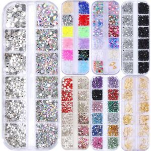 AB Farbe Nail Art Straßsteinen Klar Flacher Boden Mix-Größe Nagel Rivet Perlen