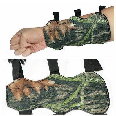 Camo Archery Target Leather Arm Guard Protector for Hunting Practice 3 Straps