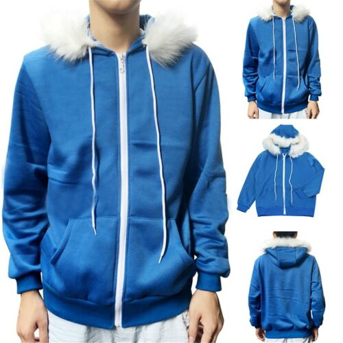 Undertale Sans Cosplay Blue Thick Hooded Jacket Winter Coat Sweater Costume