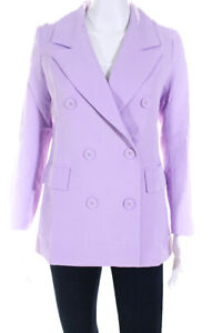 Lioness Womens Don Button Front Blazer Jacket Purple Size X-Small