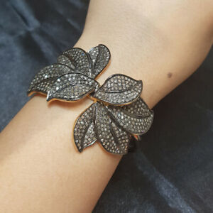 Floral-Diamond-Pave-925-Sterling-Silver-Bangle-Fine-Wedding-Anniversary-Jewelry