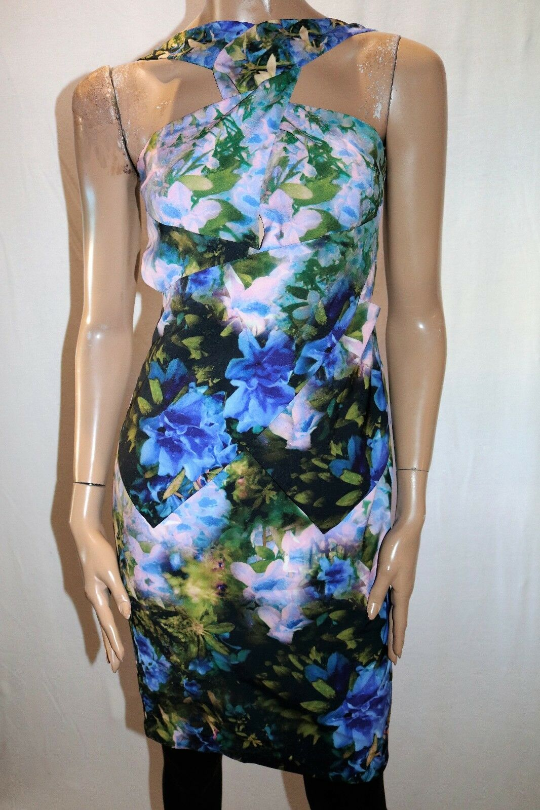 Ministry of Style Brand Multi Colour Floret Peplum Dress Größe 8 BNWT  TN13