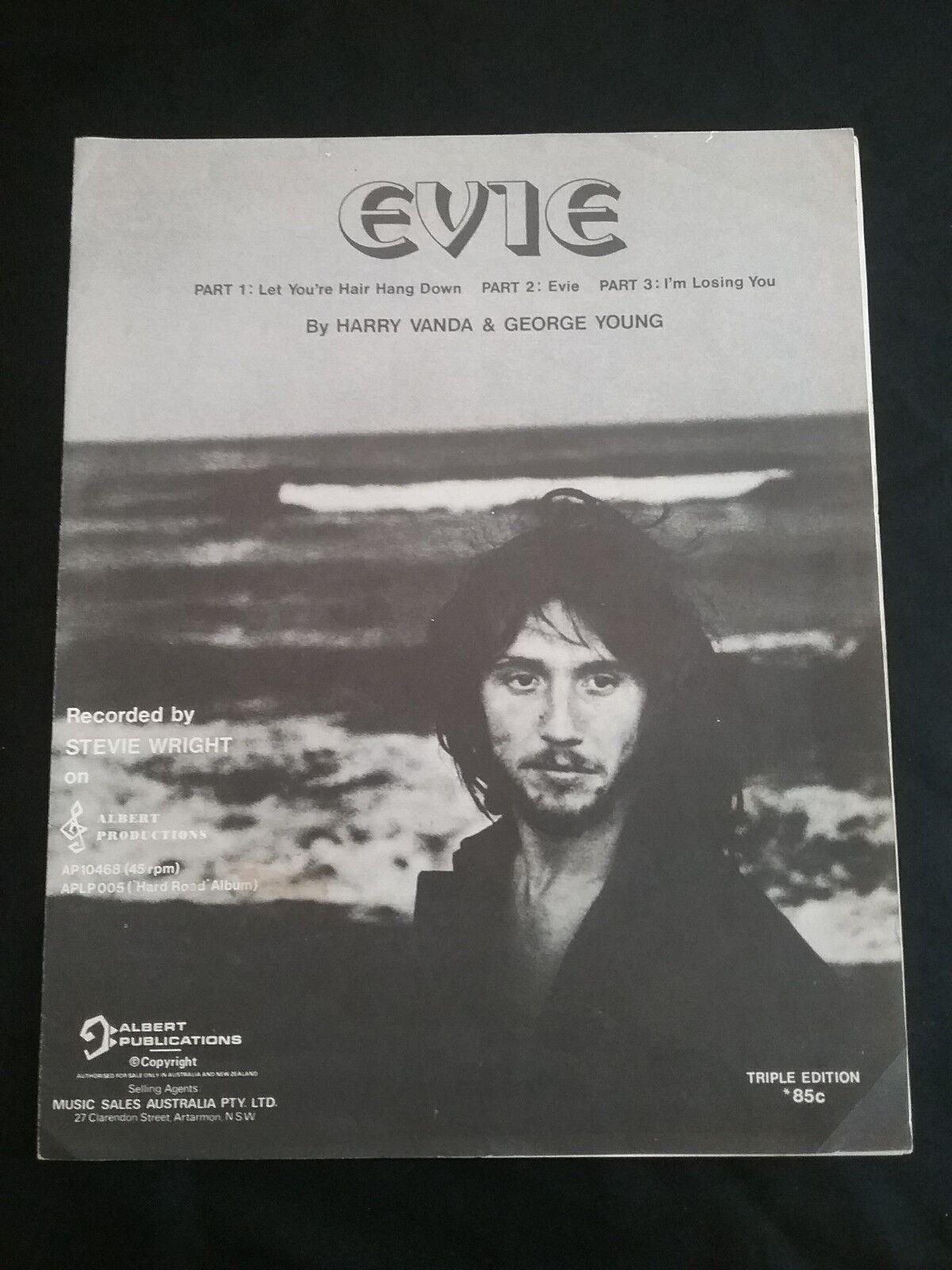 STEVIE WRIGHT EVIE PART 1.2.3. SHEET MUSIC ALBERT PRODUCTIONS AUSTRALIA 1974