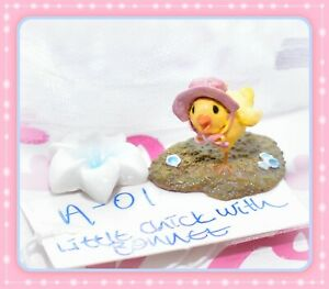 ❤️Wee Forest Folk A-01 Little Chick with Bonnet Pink Easter A-1 Retired WFF❤️