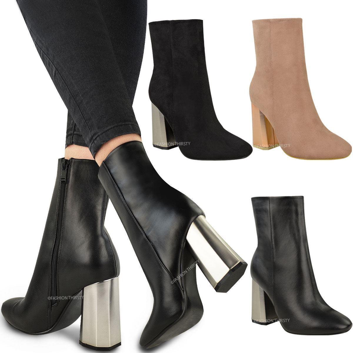 Womens Ladies Ankle Boots Metallic Chrome Hexagon Heel Chelsea Celeb Black Size