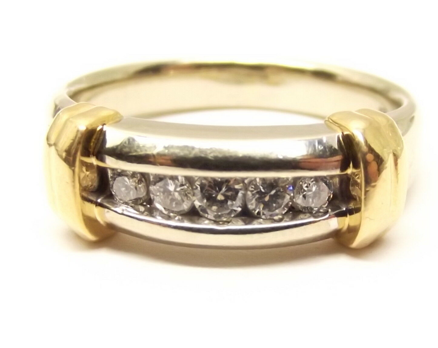Vtg 14K gold Diamond Ring Sz 8.25 White Yellow 2 Tone Mens Wedding .42 Carat TCW