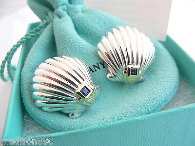 Tiffany & Co Silver 18K Gold Shell Blue Sapphire Pierced Earrings Rare Vintage
