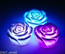 LED Rose ~ 7 Colour changing Flower Night Light Lamp ~ Battery Powered ~ White