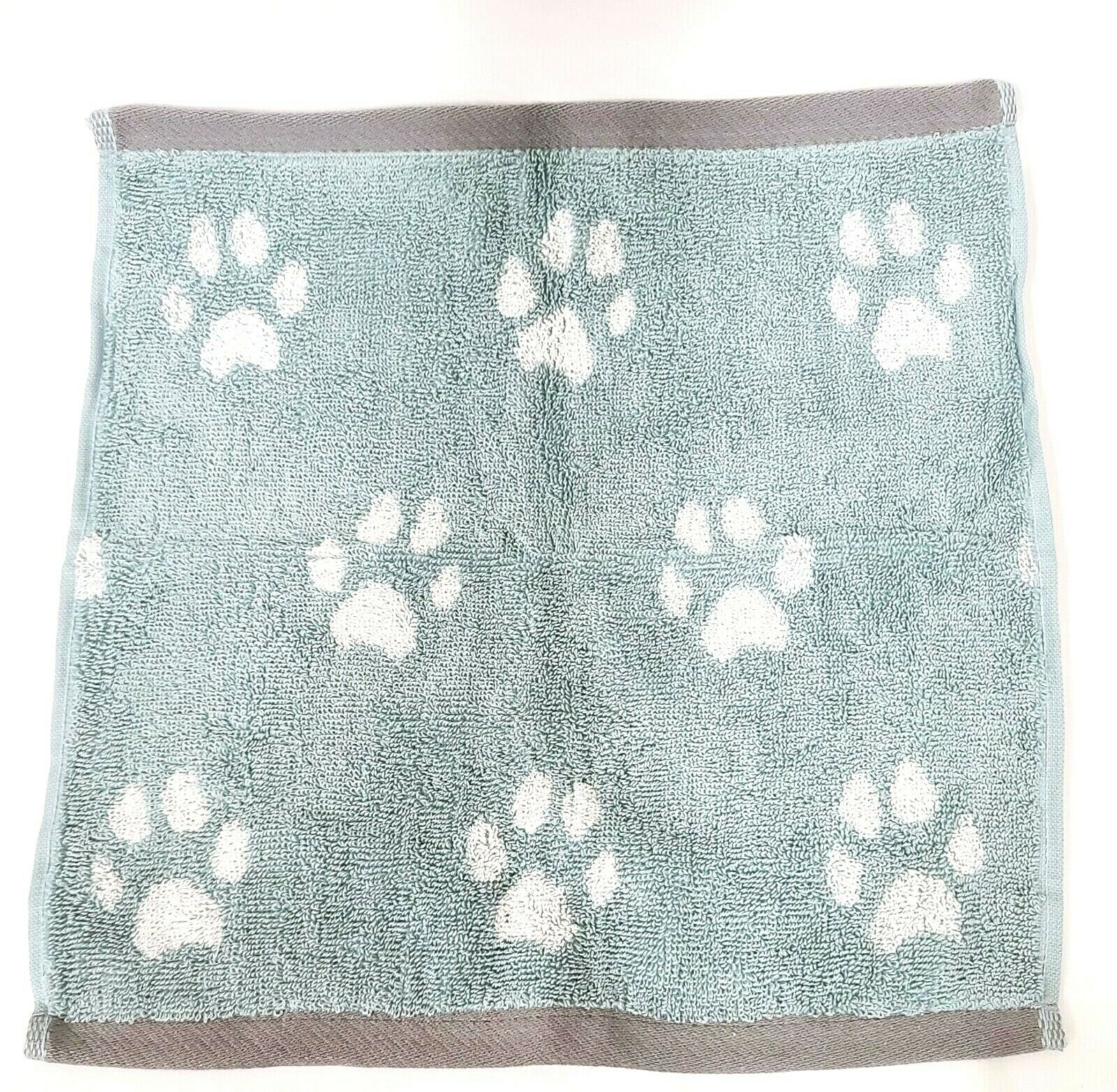 NEW SET OF 4 PERI HOME SAGE GREEN,WHITE PAWS PRINT WASH CLOTHES TOWEL