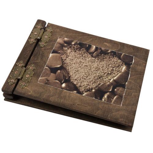 Holzalbum Fotoalbum Holzfotoalbum aus Edelholz 50 Blatt Herz Hochzeitsbuch Holz