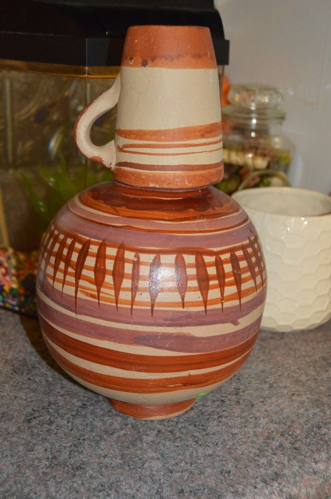 Southwestern red clay pottery bedside water caraffe container cup 1 ft approx lg