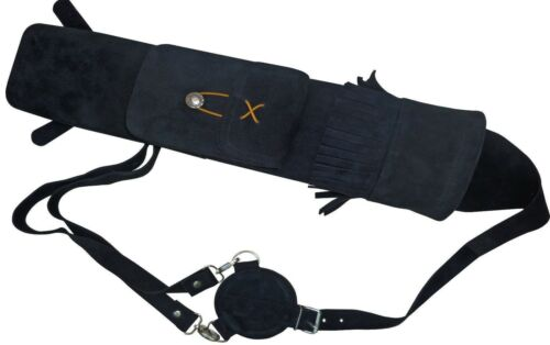 Soft Black Suede Back Side Quiver With front Pocket Archery Products AQ 118A.