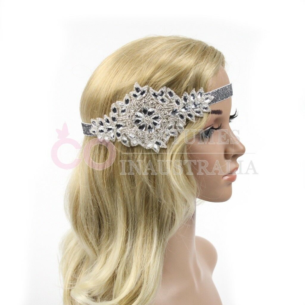 1920s Headband Silver Vintage Bridal Great Gatsby Flapper Headpiece Gangster