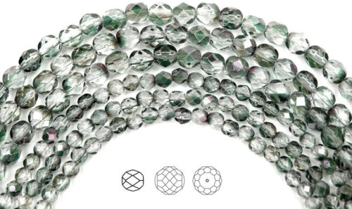"""16/"""" strand Czech Fire Polished Round Faceted Beads in Crystal Mint Shimmer coat"""
