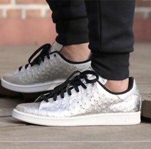 watch 81cf7 30121 Image is loading new-ADIDAS-STAN-SMITH-Originals-Metallic-Silver-shoes-