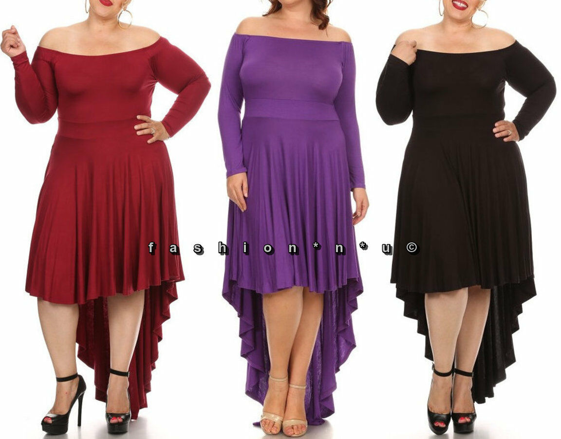 Plus Size On Off Shoulder Hi Low Jersey Maxi Dress