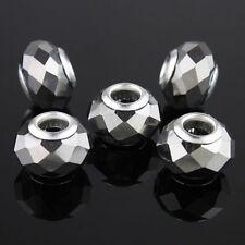 20X Silver Facet Crystal Glass Big Hole Beads Fit European Charm Bracelet