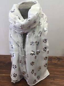 White-Paw-Print-Ladies-Scarf-Metalic-Glitter-Silver-Printed-Foil-Print-Dog-Cat