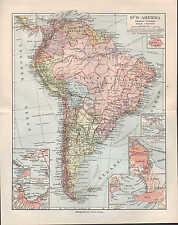 Landkarte map 1910: SÜD-AMERIKA. Politische Übersicht. Buenos Aires Montevideo