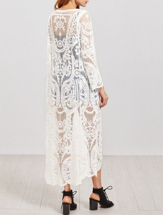 Maxi kimono robe broderie Long Caftan Dentelle EmbroideRouge Lace Long broderie Dress One Size M 2a13f2