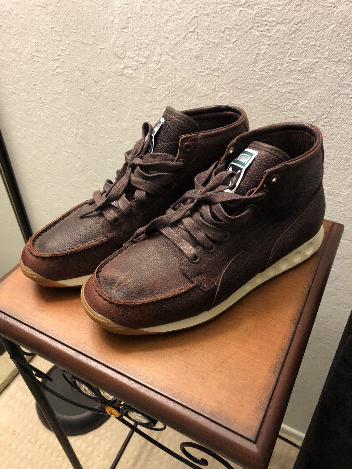Puma Sneaker Boot Mens 8 Brand New Brown Leather Distressed Aventi