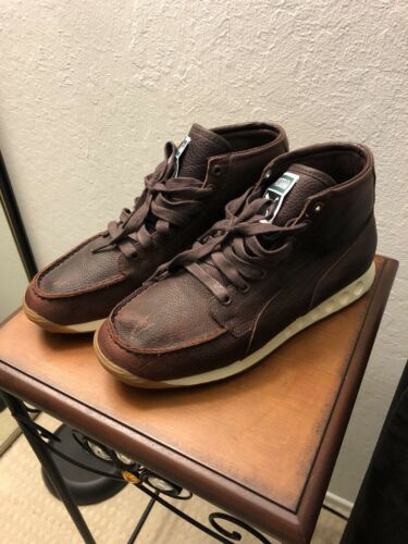 Puma Sneaker Boot Mens 8 Brown Leather Distressed