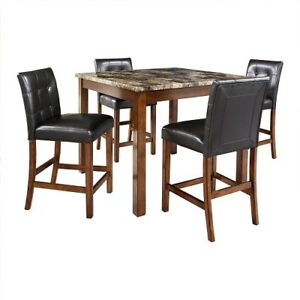 Dining Set 5 Piece Counter High Kitchen Table Wood Furniture