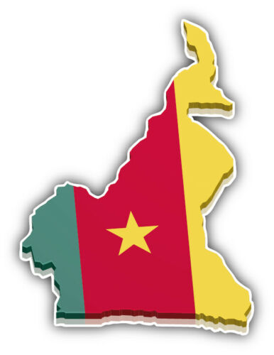"Cameroon Map Flag 3D Car Bumper Sticker Decal  /""SIZES/'/'"