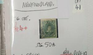NEWFOUNDLAND-blue-green-1c-QUEEN-VIC-STAMP-G-U