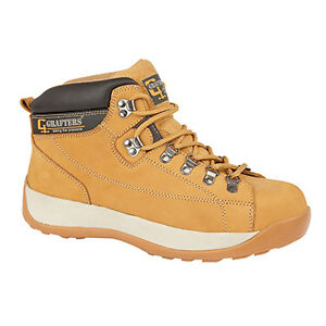 Grafters-Safety-Padded-Collar-Mens-Honey-Leather-Lace-Work-Boots-Shoes-UK6-14