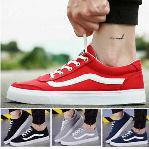 Mens-canvas-low-cut-sneakers-shoes-Athletic-Trainer-casual-walking-sport-shoes