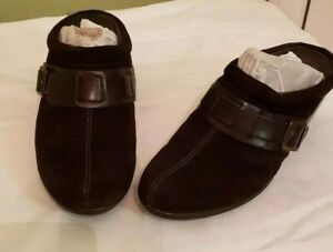 Beautiful-Womens-CLARKS-BENDABLES-Chocolate-Suede-Mules-Shoe-Size-US-9-M