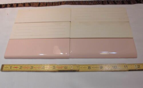 """Glossy 2/"""" X 6/"""" *Pink Mist* Surface Ceramic Bullnose Tiles  Mid-State  NOS 6 pcs"""