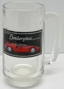 Lamborghini Countach Mug Beer Drinking Glass Vintage Retro