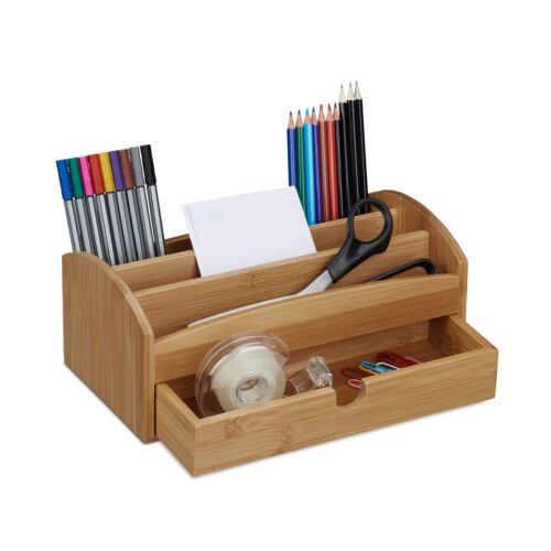 Schreibtischorganizer Utensilo Ordnungssystem mit Schublade Multiköcher Bambus