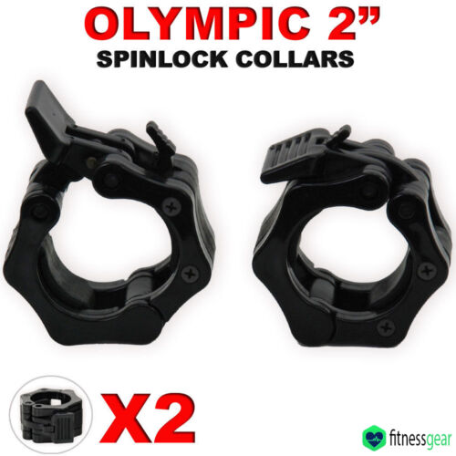 """2/"""" Olympic Weight Lifting Gym Barbell Dumbbell Bar Spinlock Collars Pair Set 5cm"""
