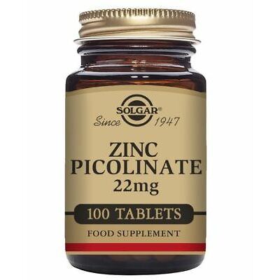 Solgar Zinc Picolinate Tablets, 22 mg , Pack of 100